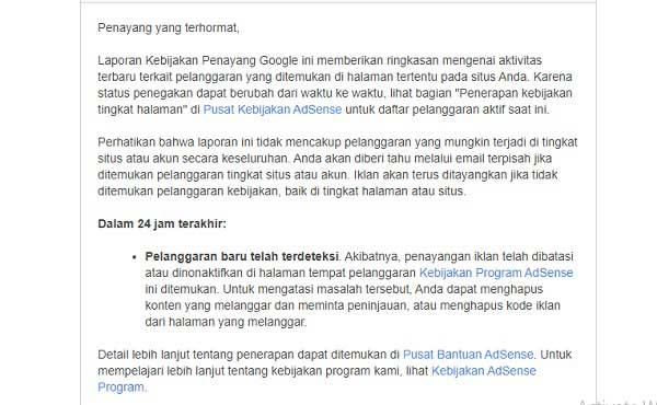 email pelanggaran kebijakan google adsense