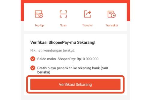 Verifikasi Akun ShopeePay