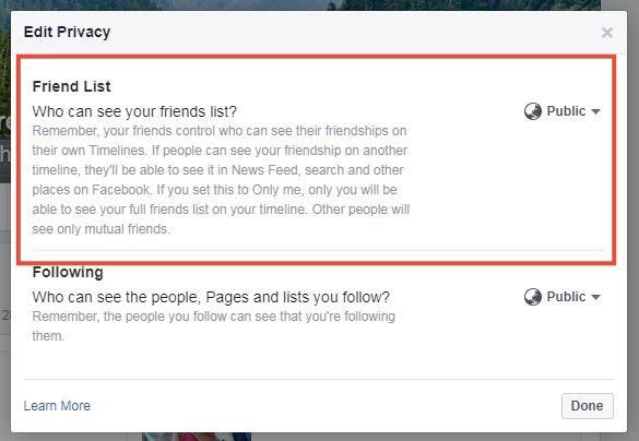 mengubah privasi teman facebook