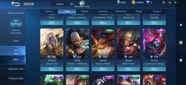 Daftar Harga Skin Hero Tank Mobile Legends