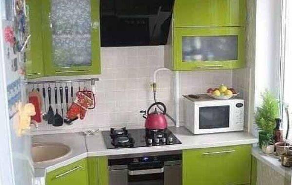 Konsep Dapur Sederhana dengan  Warna Hijau