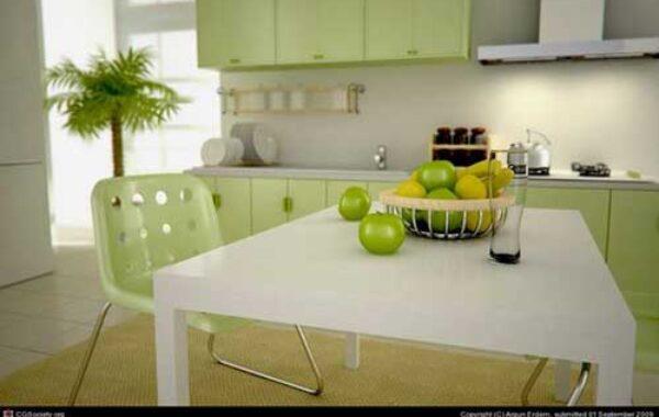 Dapur dan Buah di Meja Makan