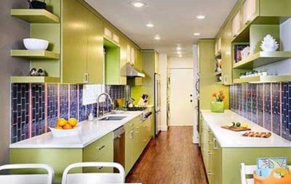 Desain dapur warna Hijau Mewah