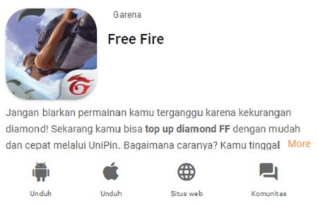 Top Up diamond Free fire di UniPin