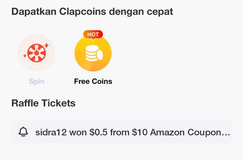 Mendapatkan Uang di Aplikasi ClipClaps